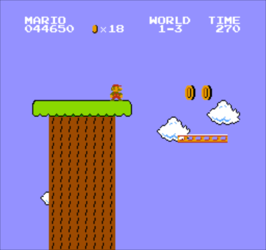 The coins here are positioned to indicate to the player that they're supposed to jump onto the moving platform to proceed.
